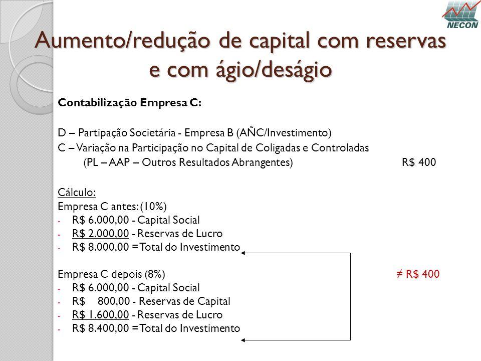 Aumento/redução de capital com reservas e com ágio/deságio Contabilização Empresa C: D – Partipação Societária - Empresa B (AÑC/Investimento) C – Vari
