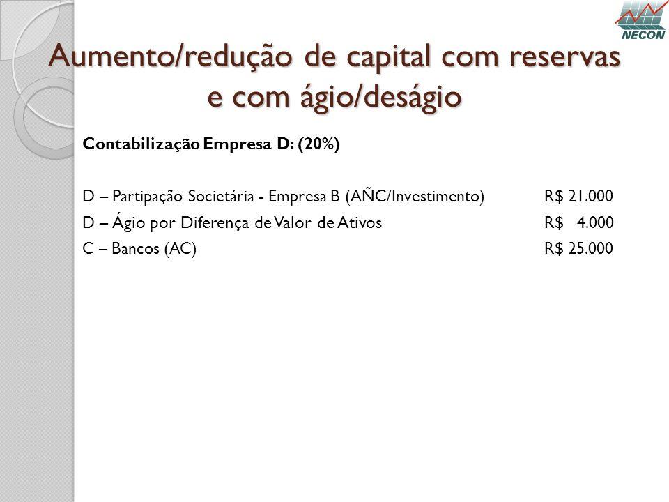 Aumento/redução de capital com reservas e com ágio/deságio Contabilização Empresa D: (20%) D – Partipação Societária - Empresa B (AÑC/Investimento) R$
