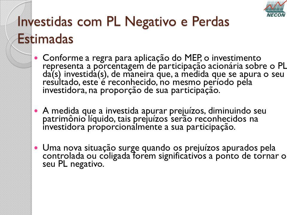 Investidas com PL Negativo e Perdas Estimadas Conforme a regra para aplicação do MEP, o investimento representa a porcentagem de participação acionári