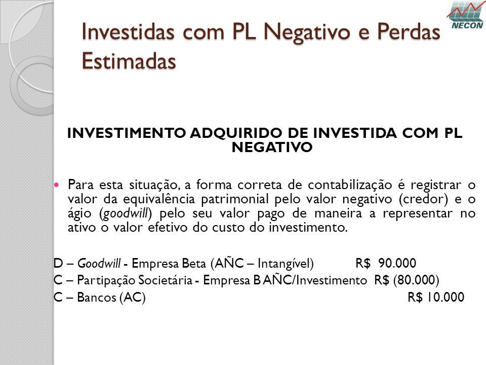 Investidas com PL Negativo e Perdas Estimadas INVESTIMENTO ADQUIRIDO DE INVESTIDA COM PL NEGATIVO Para esta situação, a forma correta de contabilizaçã