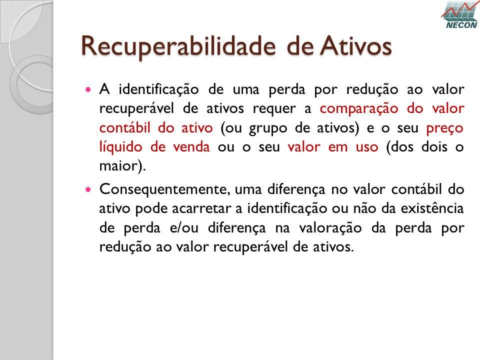 Recuperabilidade de Ativos A identificação de uma perda por redução ao valor recuperável de ativos requer a comparação do valor contábil do ativo (ou