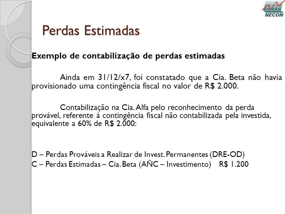 Perdas Estimadas Exemplo de contabilização de perdas estimadas Ainda em 31/12/x7, foi constatado que a Cia. Beta não havia provisionado uma contingênc