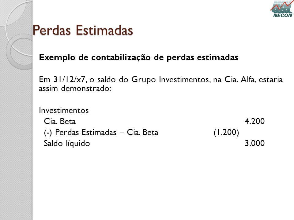 Perdas Estimadas Exemplo de contabilização de perdas estimadas Em 31/12/x7, o saldo do Grupo Investimentos, na Cia. Alfa, estaria assim demonstrado: I