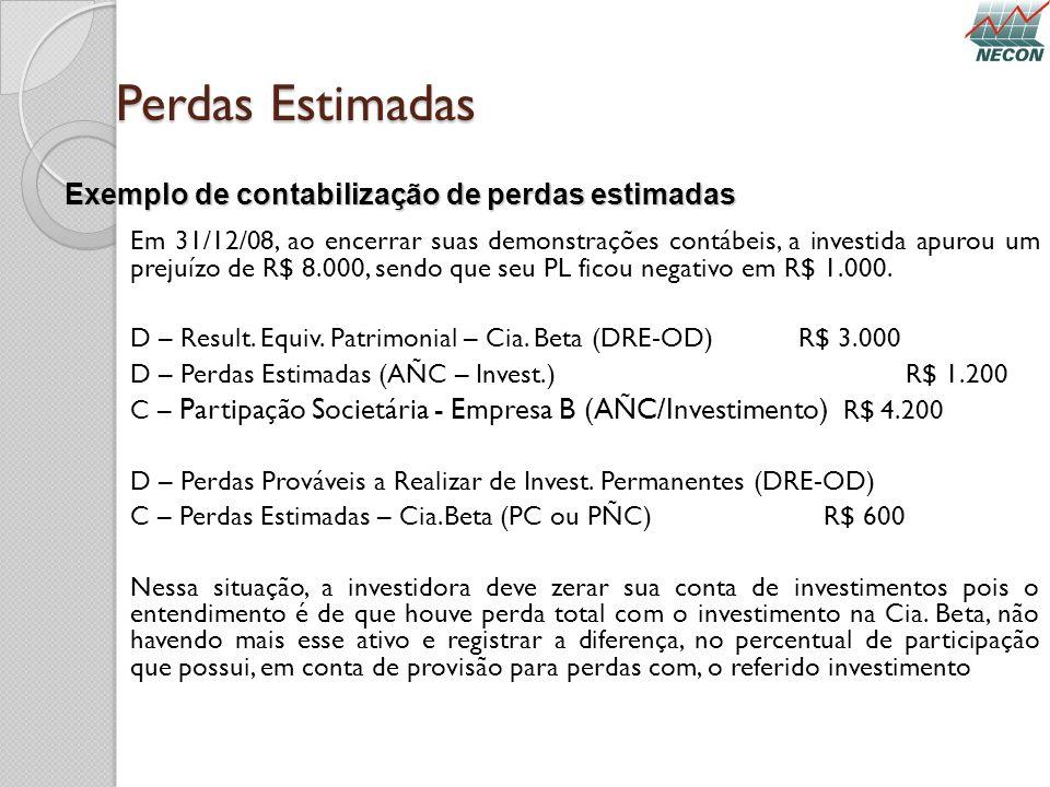 Perdas Estimadas Em 31/12/08, ao encerrar suas demonstrações contábeis, a investida apurou um prejuízo de R$ 8.000, sendo que seu PL ficou negativo em