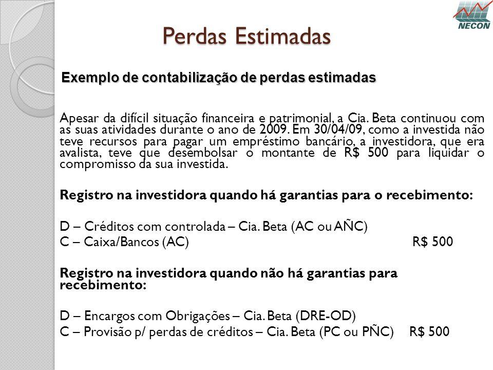 Perdas Estimadas Apesar da difícil situação financeira e patrimonial, a Cia. Beta continuou com as suas atividades durante o ano de 2009. Em 30/04/09,