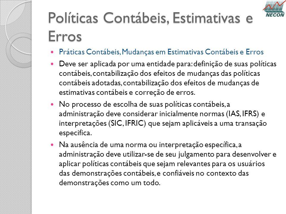 Políticas Contábeis, Estimativas e Erros Práticas Contábeis, Mudanças em Estimativas Contábeis e Erros Deve ser aplicada por uma entidade para: defini