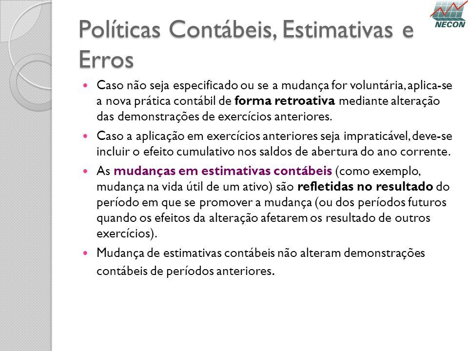 Políticas Contábeis, Estimativas e Erros Caso não seja especificado ou se a mudança for voluntária, aplica-se a nova prática contábil de forma retroat