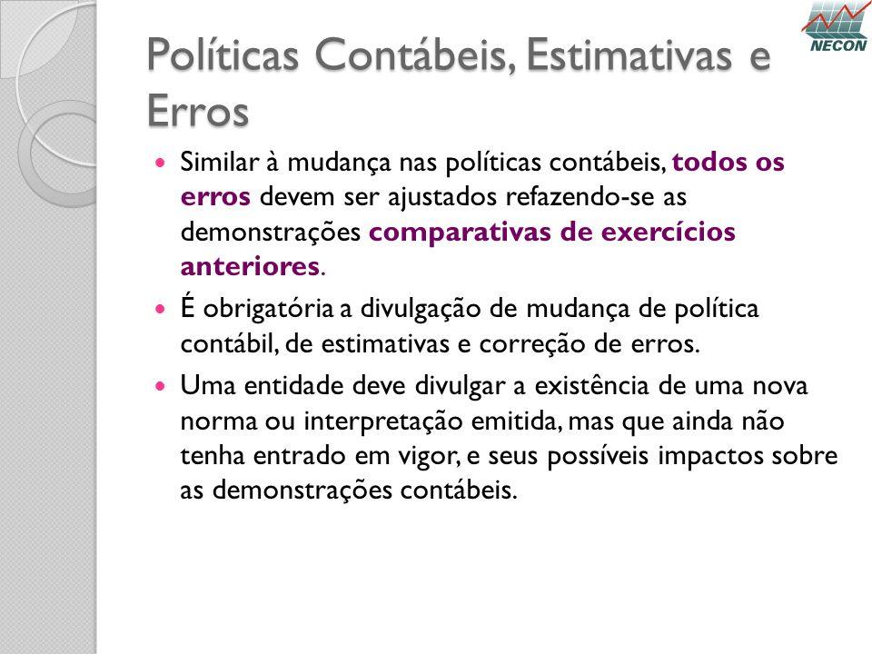 Políticas Contábeis, Estimativas e Erros Similar à mudança nas políticas contábeis, todos os erros devem ser ajustados refazendo-se as demonstrações c