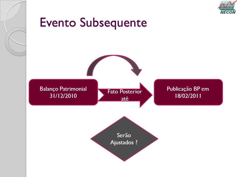 Evento Subsequente Balanço Patrimonial 31/12/2010 Fato Posterior até Serão Ajustados ? Publicação BP em 18/02/2011