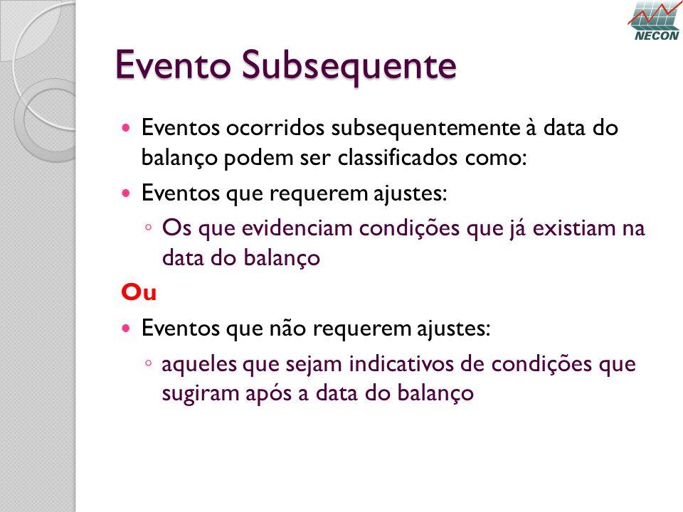 Evento Subsequente Eventos ocorridos subsequentemente à data do balanço podem ser classificados como: Eventos que requerem ajustes: Os que evidenciam