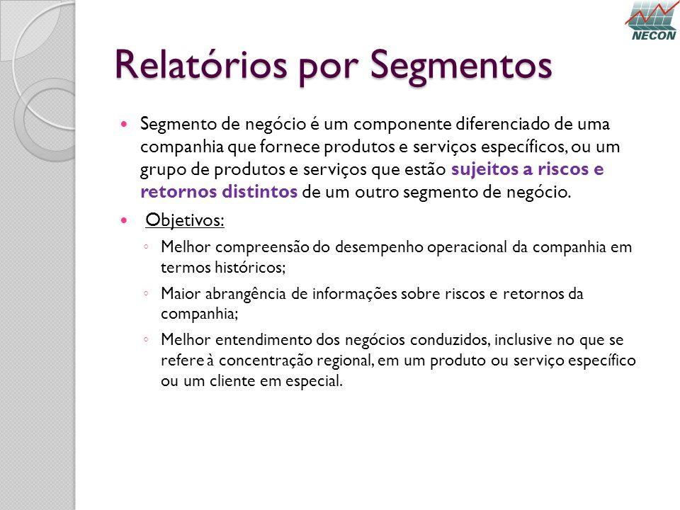 Relatórios por Segmentos Segmento de negócio é um componente diferenciado de uma companhia que fornece produtos e serviços específicos, ou um grupo de