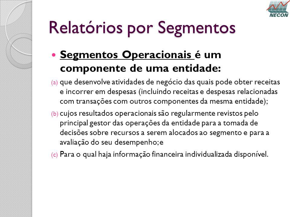 Relatórios por Segmentos Segmentos Operacionais é um componente de uma entidade: (a) que desenvolve atividades de negócio das quais pode obter receita