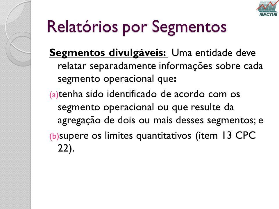 Relatórios por Segmentos Segmentos divulgáveis: Uma entidade deve relatar separadamente informações sobre cada segmento operacional que: (a) tenha sid