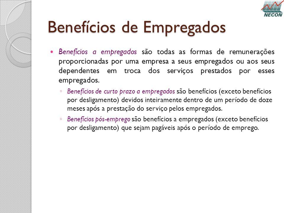 Benefícios de Empregados Benefícios a empregados são todas as formas de remunerações proporcionadas por uma empresa a seus empregados ou aos seus depe