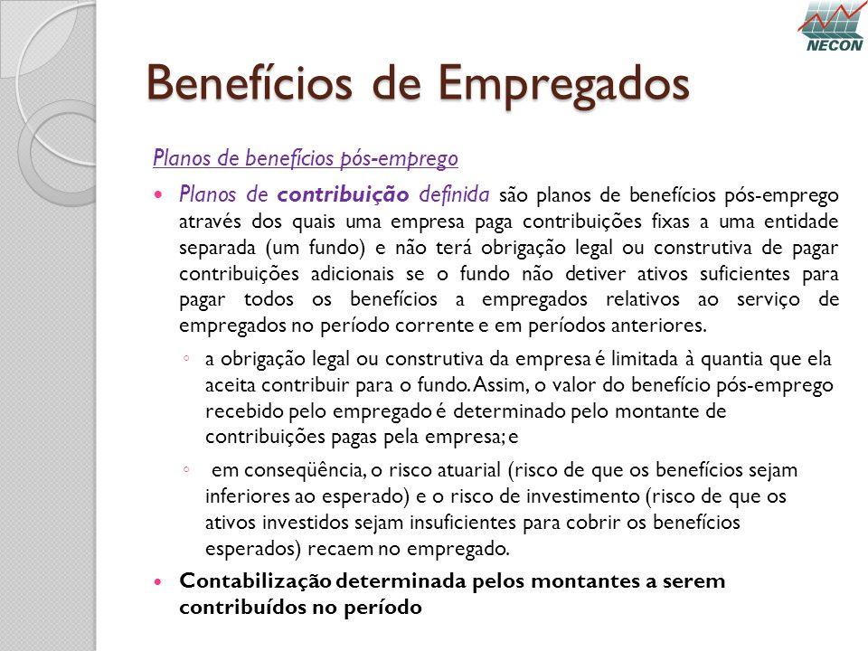 Benefícios de Empregados Planos de benefícios pós-emprego Planos de contribuição definida são planos de benefícios pós-emprego através dos quais uma e