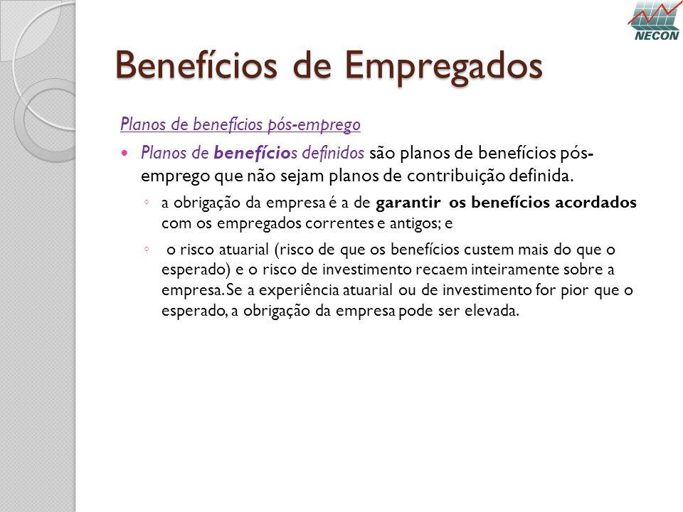 Benefícios de Empregados Planos de benefícios pós-emprego Planos de benefícios definidos são planos de benefícios pós- emprego que não sejam planos de
