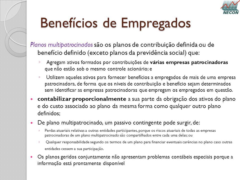 Benefícios de Empregados Planos multipatrocinados são os planos de contribuição definida ou de benefício definido (exceto planos da previdência social