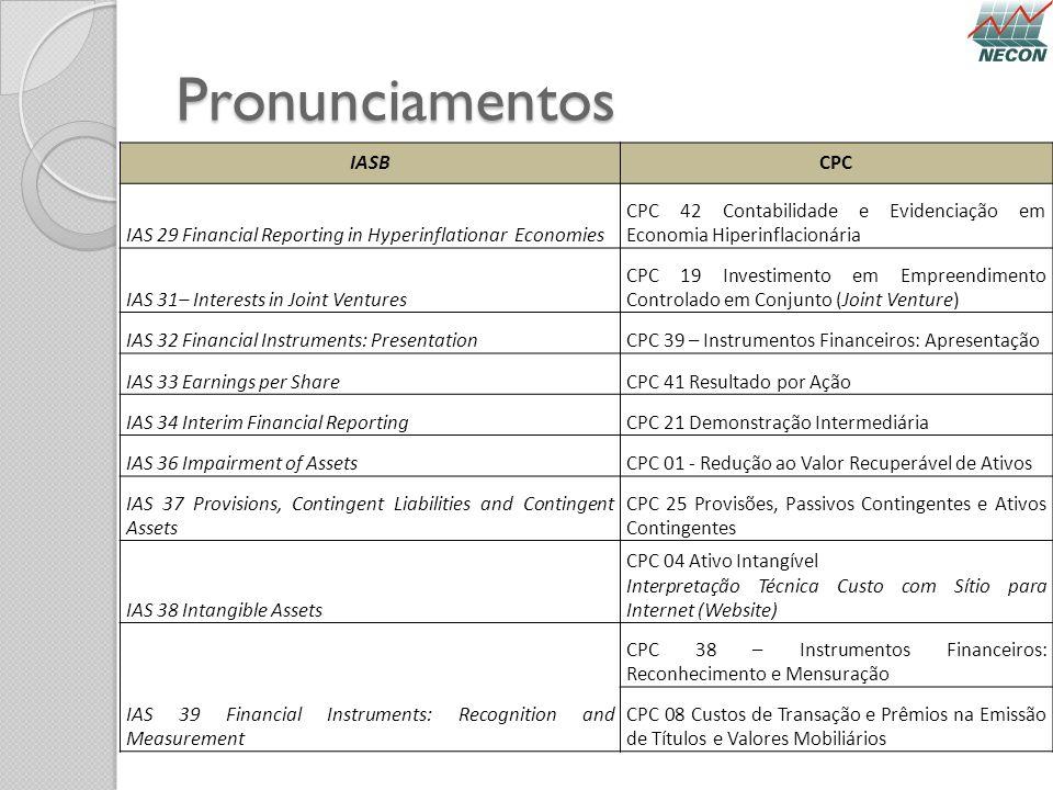 Pronunciamentos IASBCPC IAS 29 Financial Reporting in Hyperinflationar Economies CPC 42 Contabilidade e Evidenciação em Economia Hiperinflacionária IA