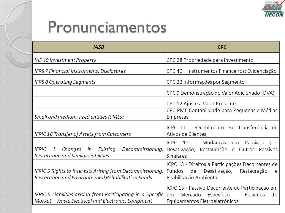 Pronunciamentos IASBCPC IAS 40 Investment PropertyCPC 28 Propriedade para Investimento IFRS 7 Financial Instruments: DisclosuresCPC 40 – Instrumentos
