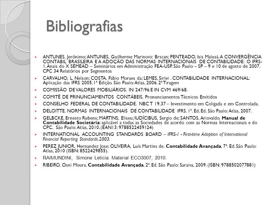 Bibliografias ANTUNES, Jerônimo; ANTUNES, Guilherme Marinovic Brscan; PENTEADO, Isis Malusá. A CONVERGÊNCIA CONTÁBIL BRASILEIRA E A ADOÇÃO DAS NORMAS
