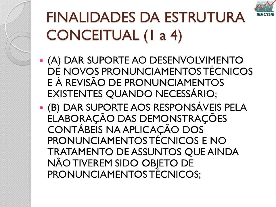 FINALIDADES DA ESTRUTURA CONCEITUAL (1 a 4) (A) DAR SUPORTE AO DESENVOLVIMENTO DE NOVOS PRONUNCIAMENTOS TÉCNICOS E À REVISÃO DE PRONUNCIAMENTOS EXISTE
