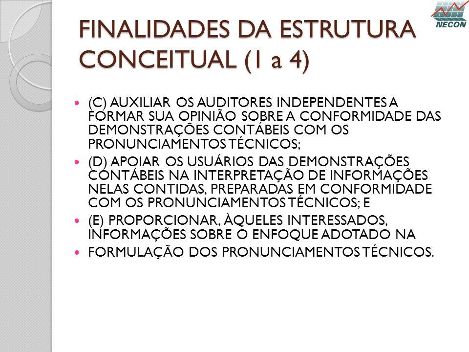 FINALIDADES DA ESTRUTURA CONCEITUAL (1 a 4) (C) AUXILIAR OS AUDITORES INDEPENDENTES A FORMAR SUA OPINIÃO SOBRE A CONFORMIDADE DAS DEMONSTRAÇÕES CONTÁB