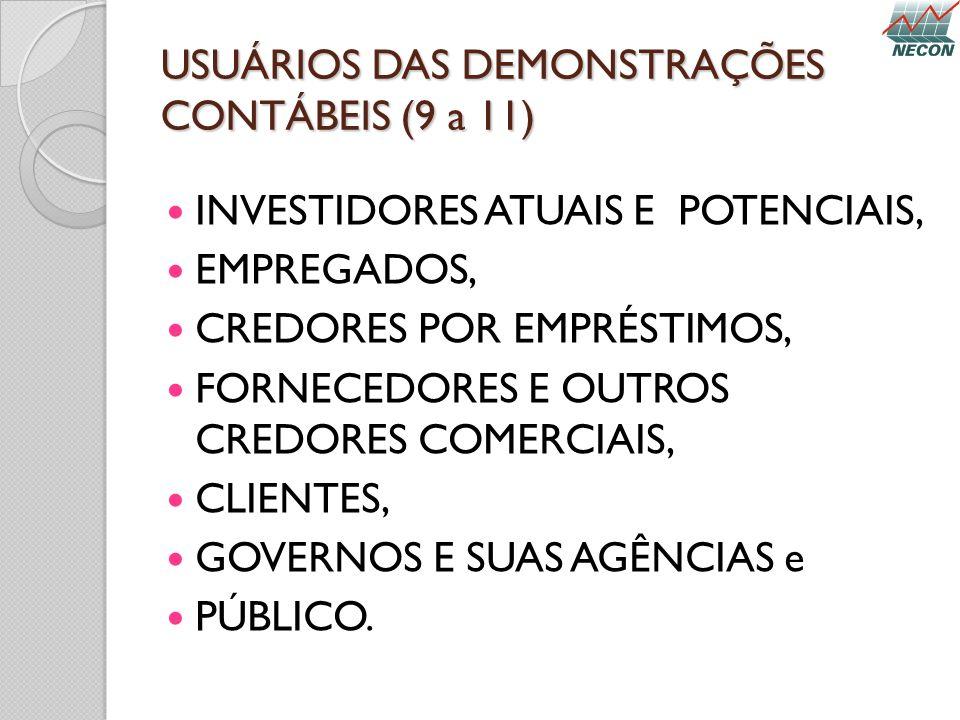 USUÁRIOS DAS DEMONSTRAÇÕES CONTÁBEIS (9 a 11) INVESTIDORES ATUAIS E POTENCIAIS, EMPREGADOS, CREDORES POR EMPRÉSTIMOS, FORNECEDORES E OUTROS CREDORES C
