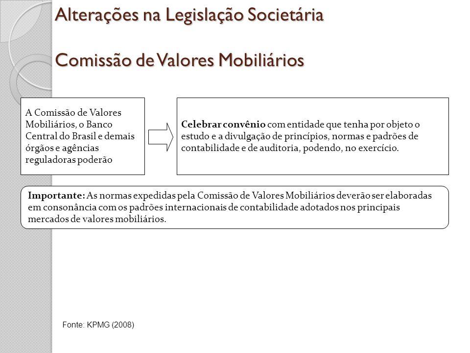 Alterações na Legislação Societária Comissão de Valores Mobiliários Celebrar convênio com entidade que tenha por objeto o estudo e a divulgação de pri