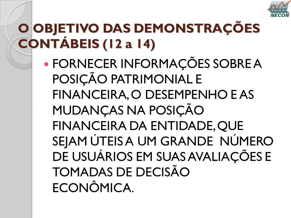 O OBJETIVO DAS DEMONSTRAÇÕES CONTÁBEIS (12 a 14) FORNECER INFORMAÇÕES SOBRE A POSIÇÃO PATRIMONIAL E FINANCEIRA, O DESEMPENHO E AS MUDANÇAS NA POSIÇÃO