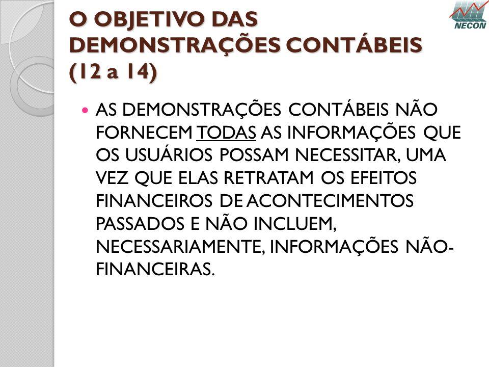 O OBJETIVO DAS DEMONSTRAÇÕES CONTÁBEIS (12 a 14) AS DEMONSTRAÇÕES CONTÁBEIS NÃO FORNECEM TODAS AS INFORMAÇÕES QUE OS USUÁRIOS POSSAM NECESSITAR, UMA V