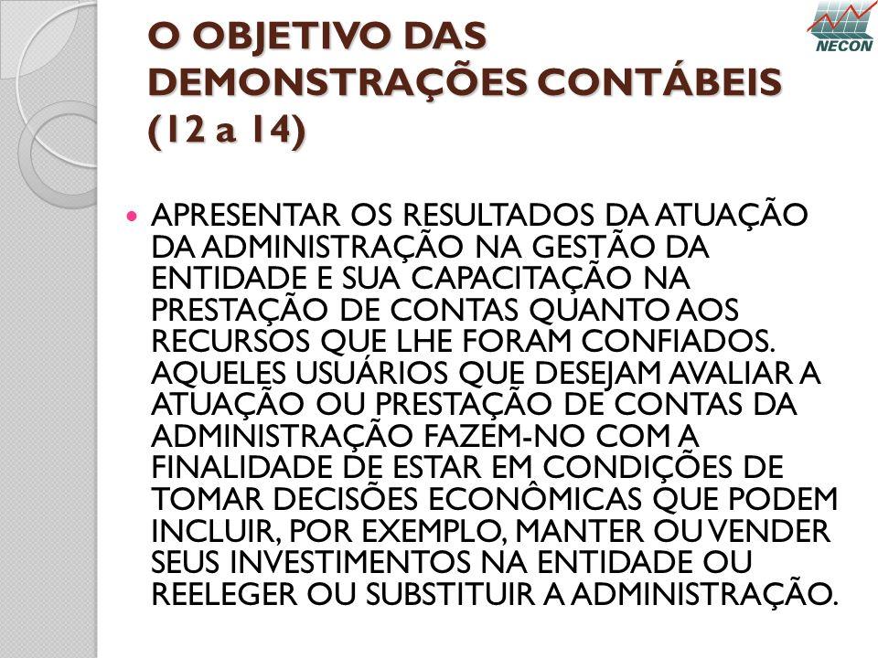 O OBJETIVO DAS DEMONSTRAÇÕES CONTÁBEIS (12 a 14) APRESENTAR OS RESULTADOS DA ATUAÇÃO DA ADMINISTRAÇÃO NA GESTÃO DA ENTIDADE E SUA CAPACITAÇÃO NA PREST