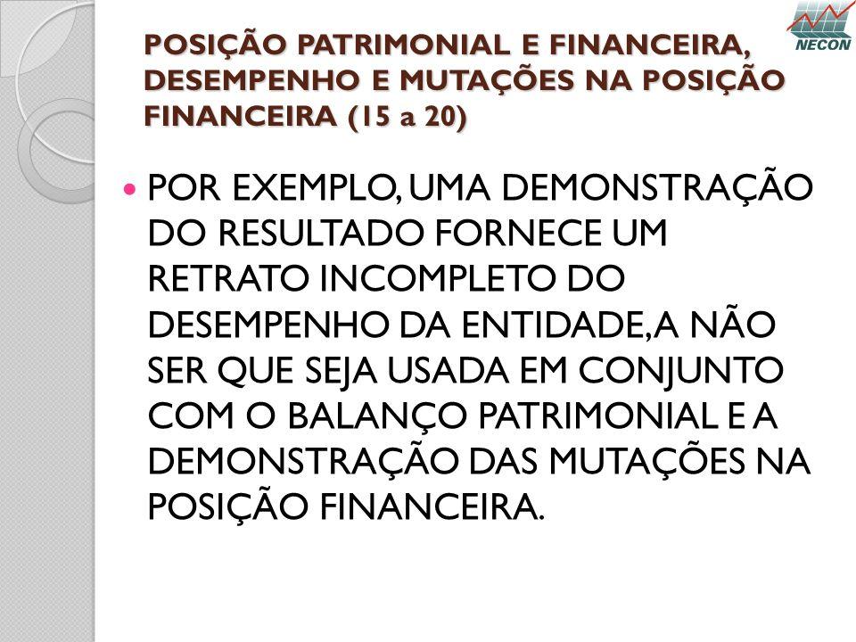 POSIÇÃO PATRIMONIAL E FINANCEIRA, DESEMPENHO E MUTAÇÕES NA POSIÇÃO FINANCEIRA (15 a 20) POR EXEMPLO, UMA DEMONSTRAÇÃO DO RESULTADO FORNECE UM RETRATO