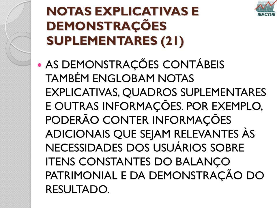 NOTAS EXPLICATIVAS E DEMONSTRAÇÕES SUPLEMENTARES (21) AS DEMONSTRAÇÕES CONTÁBEIS TAMBÉM ENGLOBAM NOTAS EXPLICATIVAS, QUADROS SUPLEMENTARES E OUTRAS IN