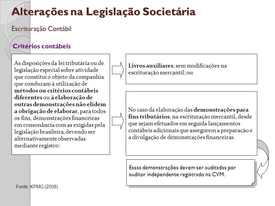 Alterações na Legislação Societária Escrituração Contábil Critérios contábeis As disposições da lei tributária ou de legislação especial sobre ativida