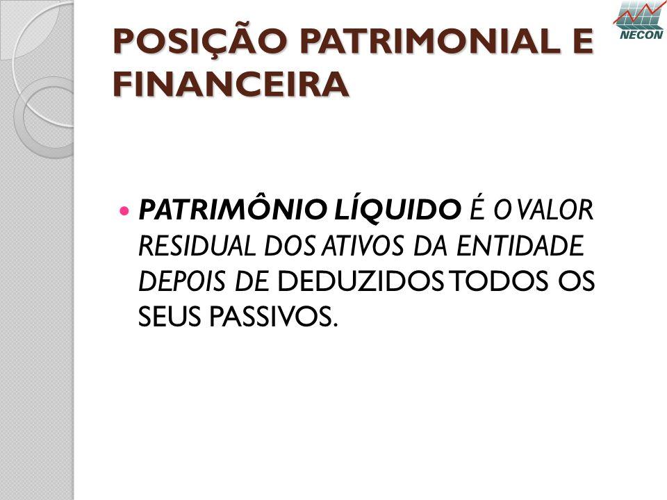 POSIÇÃO PATRIMONIAL E FINANCEIRA PATRIMÔNIO LÍQUIDO É O VALOR RESIDUAL DOS ATIVOS DA ENTIDADE DEPOIS DE DEDUZIDOS TODOS OS SEUS PASSIVOS.