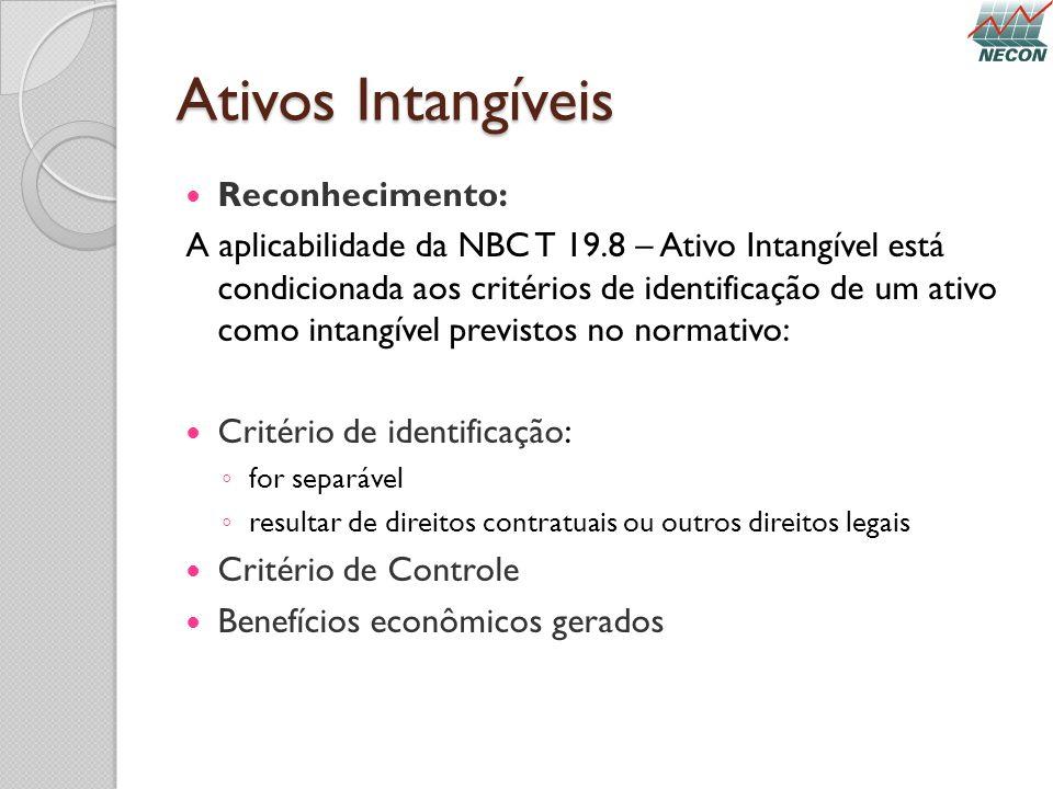 Ativos Intangíveis Reconhecimento: A aplicabilidade da NBC T 19.8 – Ativo Intangível está condicionada aos critérios de identificação de um ativo como