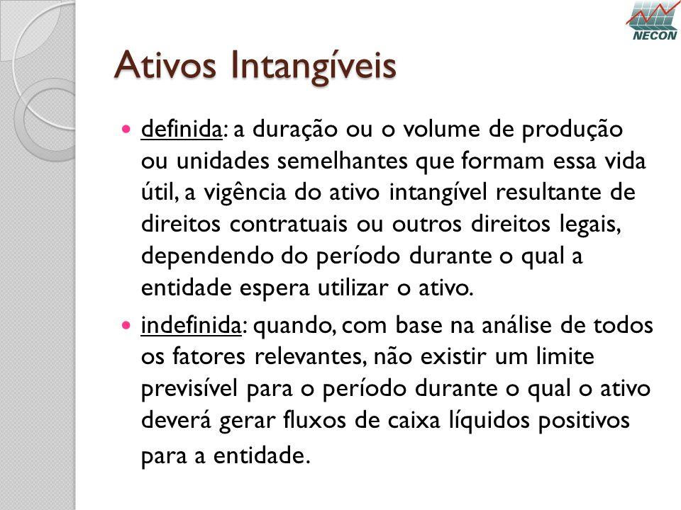Ativos Intangíveis definida: a duração ou o volume de produção ou unidades semelhantes que formam essa vida útil, a vigência do ativo intangível resul