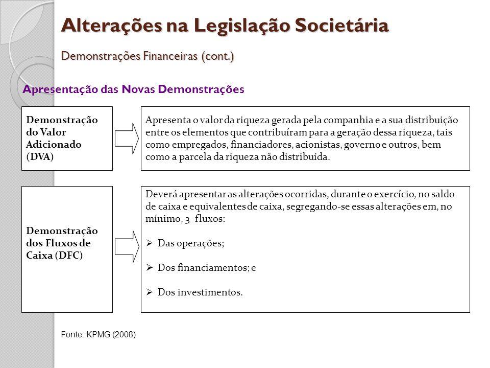 Alterações na Legislação Societária Demonstrações Financeiras (cont.) Apresentação das Novas Demonstrações Deverá apresentar as alterações ocorridas,