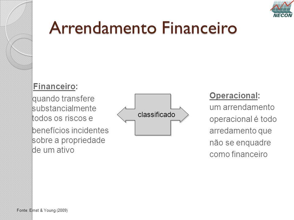 Arrendamento Financeiro Financeiro: quando transfere substancialmente todos os riscos e benefícios incidentes sobre a propriedade de um ativo classifi