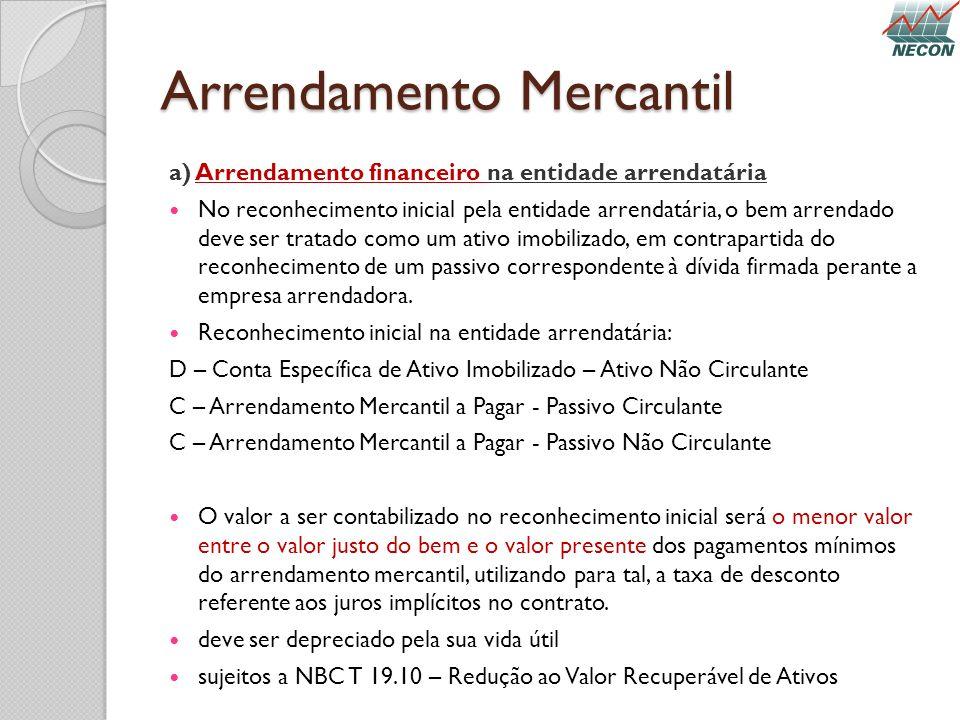 Arrendamento Mercantil a) Arrendamento financeiro na entidade arrendatária No reconhecimento inicial pela entidade arrendatária, o bem arrendado deve