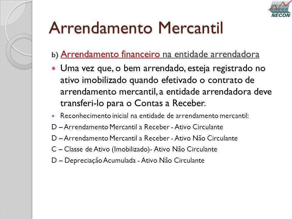 Arrendamento Mercantil b) Arrendamento financeiro na entidade arrendadora Uma vez que, o bem arrendado, esteja registrado no ativo imobilizado quando