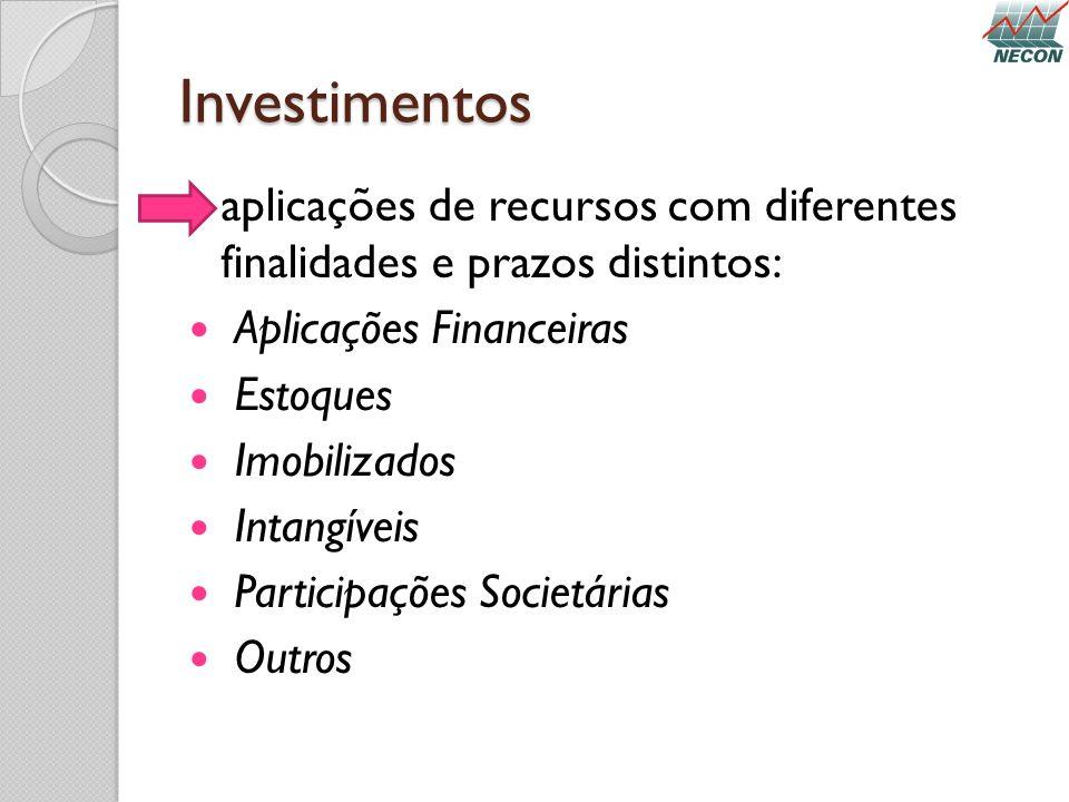 Investimentos aplicações de recursos com diferentes finalidades e prazos distintos: Aplicações Financeiras Estoques Imobilizados Intangíveis Participa