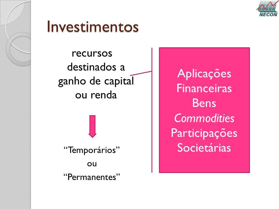 Investimentos recursos destinados a ganho de capital ou renda Temporários ou Permanentes Aplicações Financeiras Bens Commodities Participações Societá