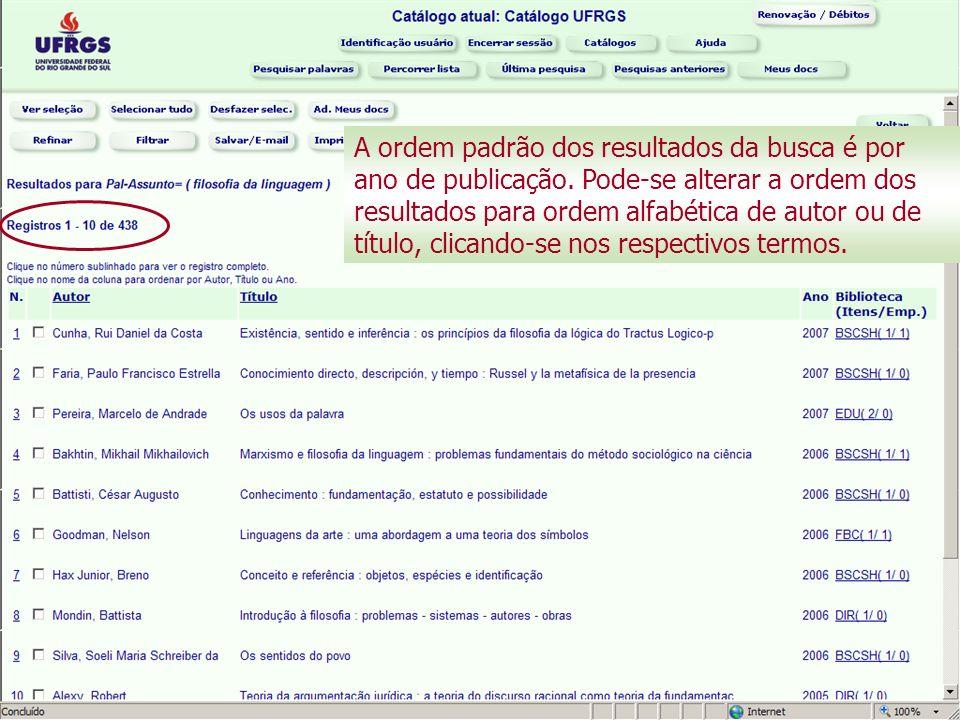 A ordem padrão dos resultados da busca é por ano de publicação.