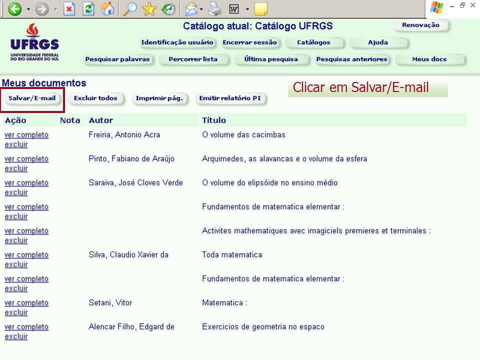 Clicar em Salvar/E-mail