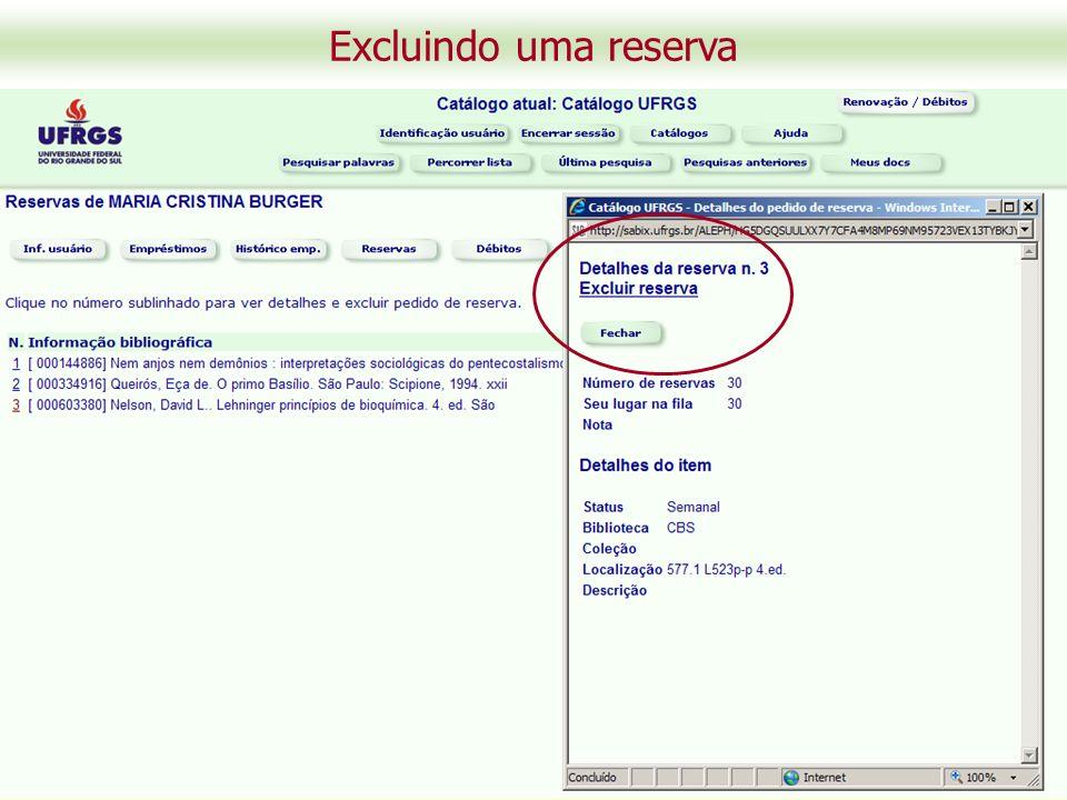 Excluindo uma reserva