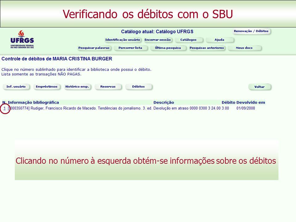 Verificando os débitos com o SBU Clicando no número à esquerda obtém-se informações sobre os débitos