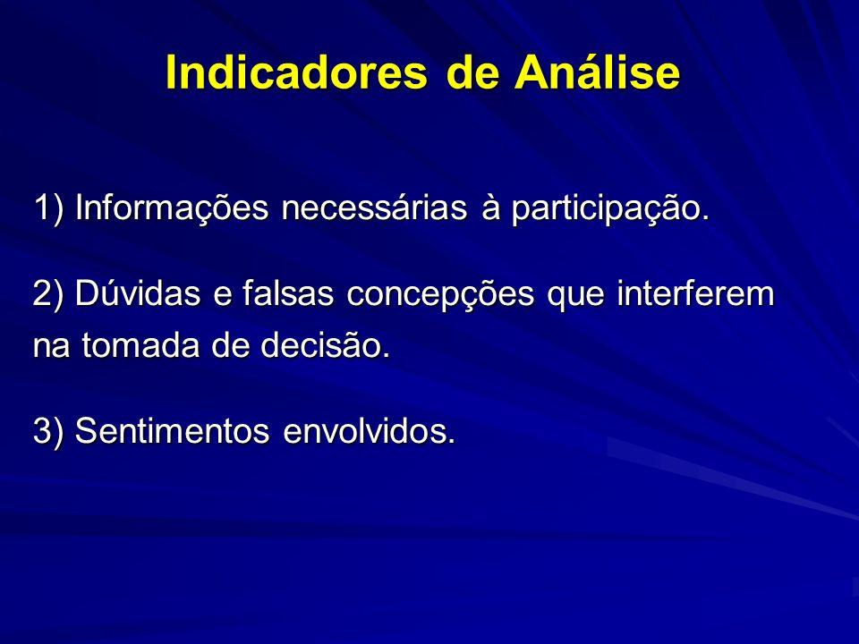 Indicadores de Análise 1) Informações necessárias à participação.