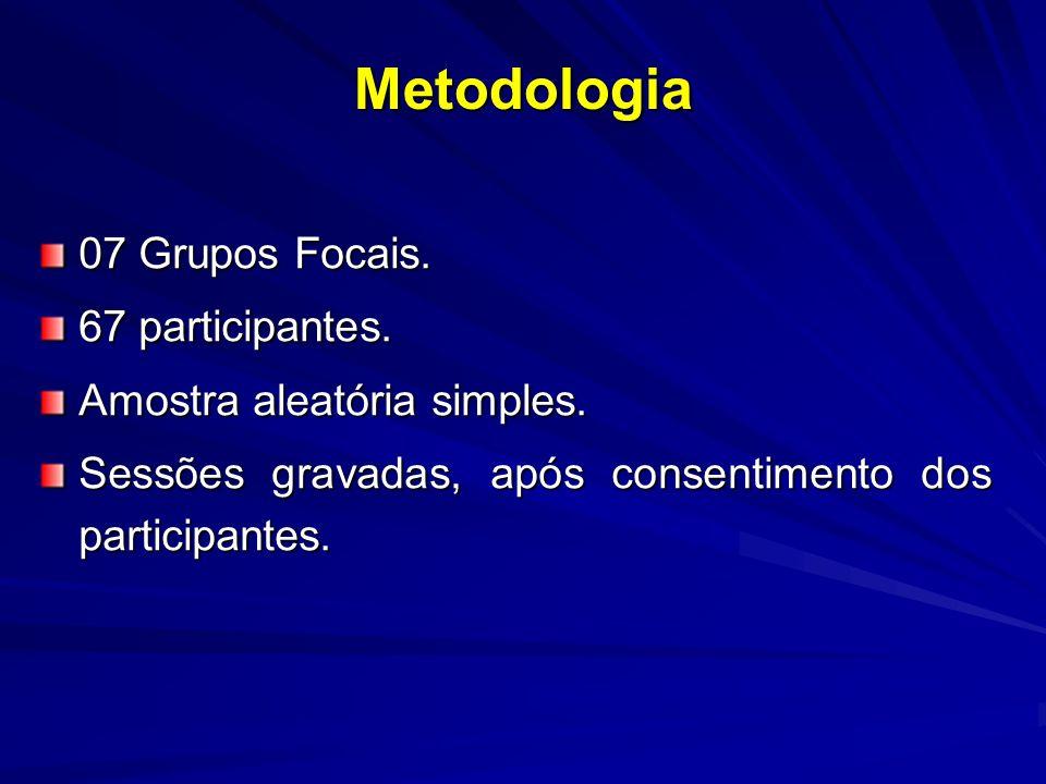 Metodologia 07 Grupos Focais. 67 participantes. Amostra aleatória simples.