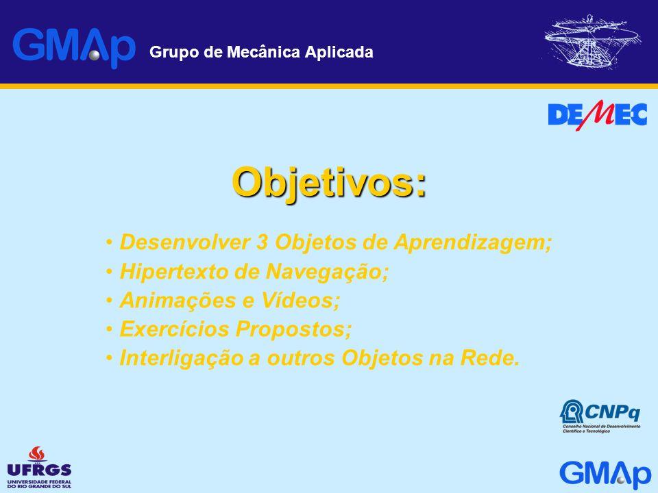 Grupo de Mecânica Aplicada Objetivos: Desenvolver 3 Objetos de Aprendizagem; Hipertexto de Navegação; Animações e Vídeos; Exercícios Propostos; Interl